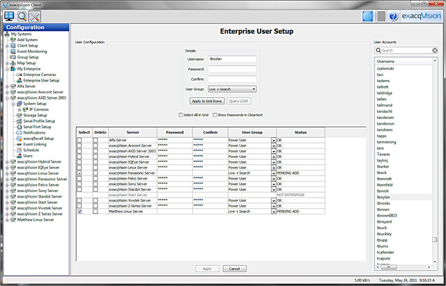 exacqVision Enterprise User Setup